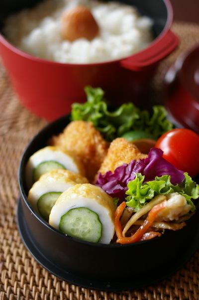 今日の白身魚フライ弁当と高知流ちくわきゅうり_d0327373_07350462.jpg