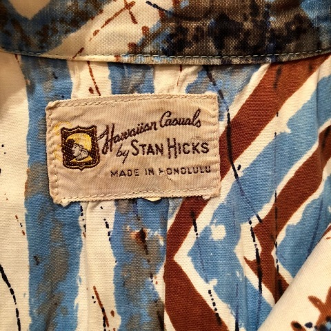 "1960s "" STAN HICKS \"" 100% COTTON VINTAGE - HAWAIIAN SHIRTS - ココナッツ釦 ._d0172088_21065094.jpg"