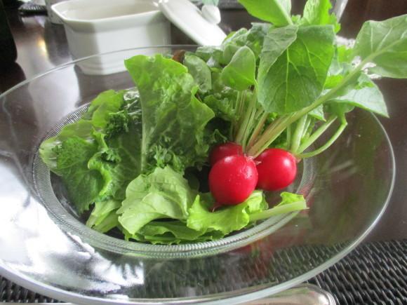 テーブルのガラスが入った&ポタジェのサラダが最高に美味しい(^^♪_a0279743_07004417.jpg