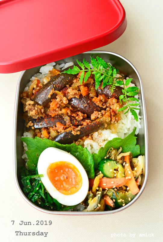 6月7日 金曜日 茄子と挽肉のエスニック炒め丼_b0288550_15163042.jpg