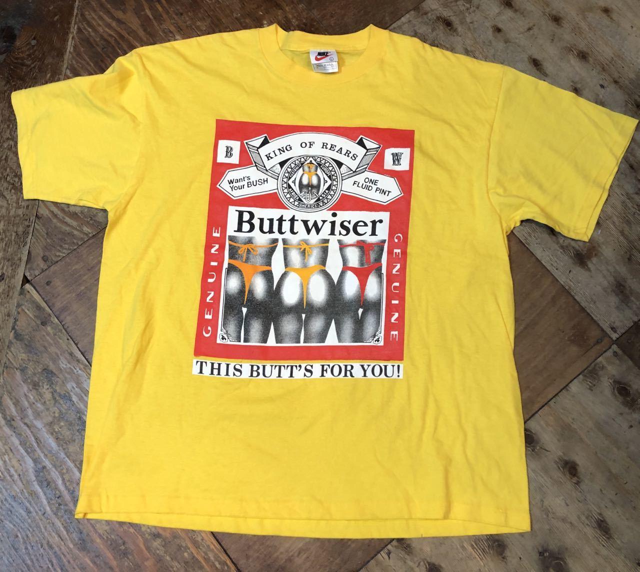 6月9日(日)入荷! 90s all cotton バドワイザー パロディー BUTTWISER Tシャツ!_c0144020_13144782.jpg