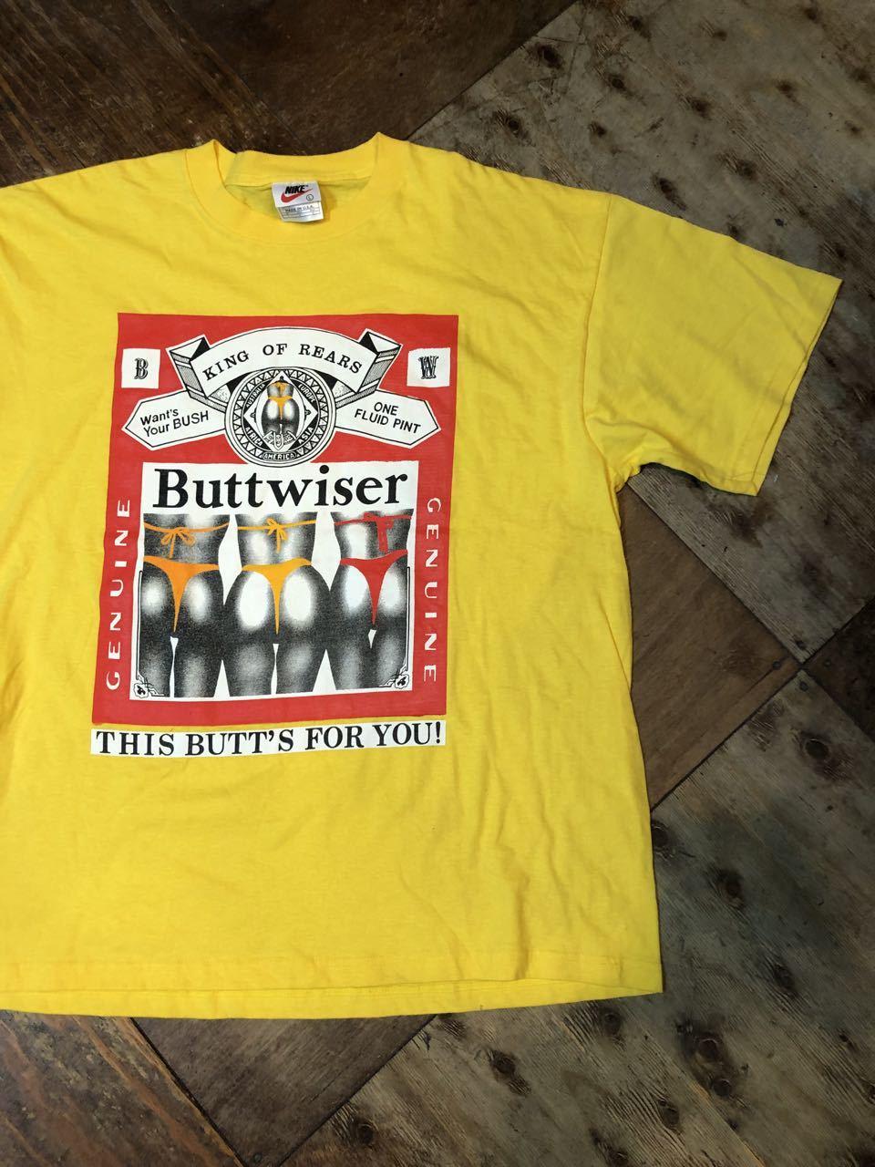 6月9日(日)入荷! 90s all cotton バドワイザー パロディー BUTTWISER Tシャツ!_c0144020_13144922.jpg