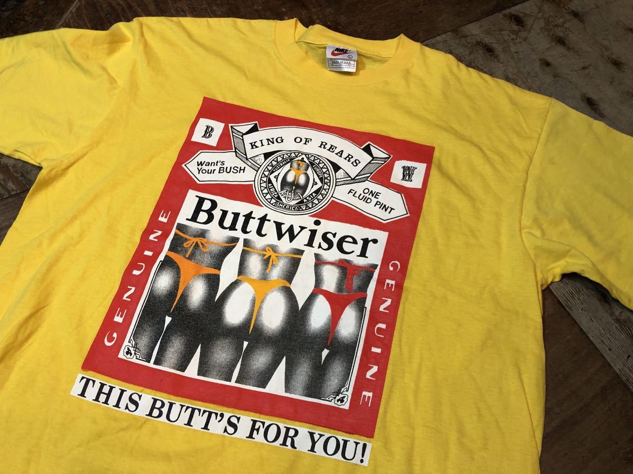 6月9日(日)入荷! 90s all cotton バドワイザー パロディー BUTTWISER Tシャツ!_c0144020_13145068.jpg
