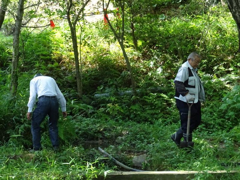土砂崩れ復旧工事跡の斜面に土留を作る・・・うみべの森_c0108460_22464354.jpg