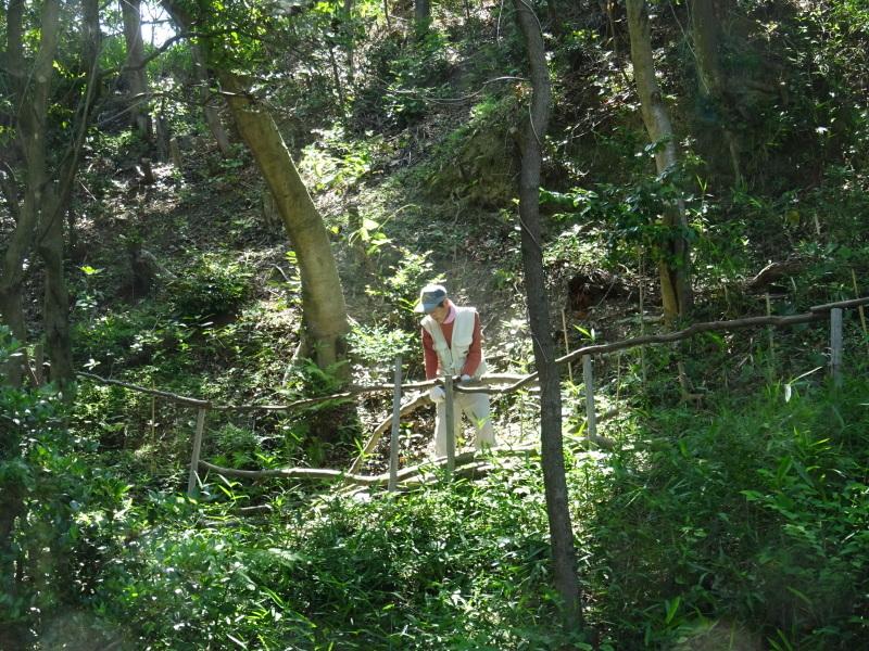 土砂崩れ復旧工事跡の斜面に土留を作る・・・うみべの森_c0108460_22515457.jpg