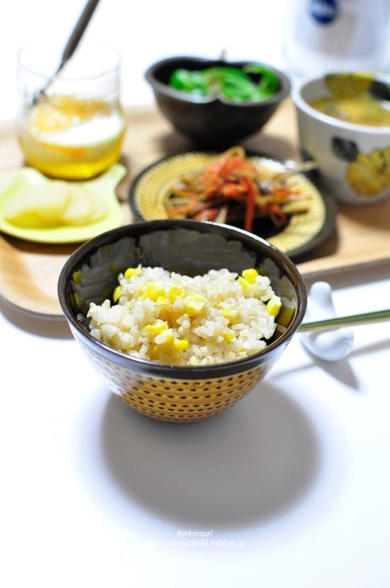玄米でとうもろこしご飯_e0359481_22374379.jpg