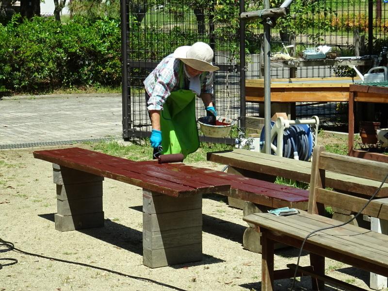 集会所のテーブル・ベンチの防腐剤塗り_c0108460_16594902.jpg