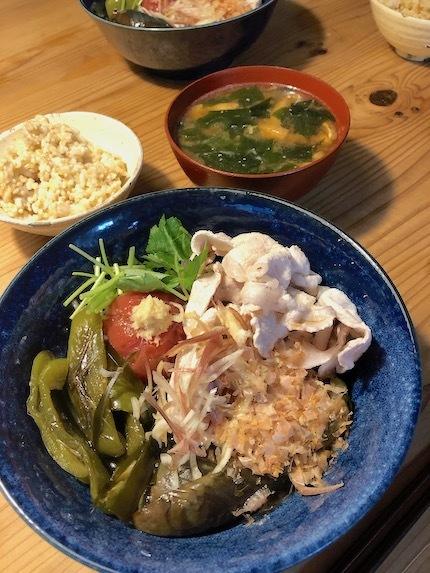 豚しゃぶと野菜の焼き浸し 〜kameplan Cafeのleftover_f0054859_18314182.jpeg