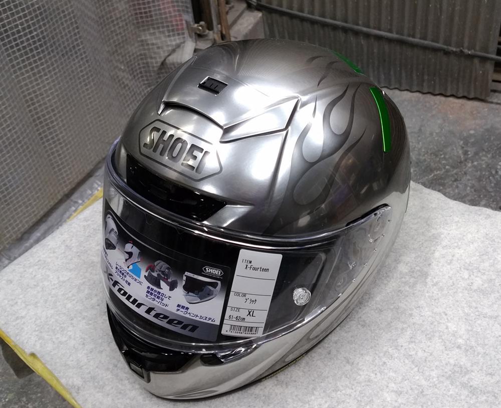 ショウエイのX-14を塗ってみた。輩のカワサキ Ninja H2乗り専用。_d0130115_13180457.jpg