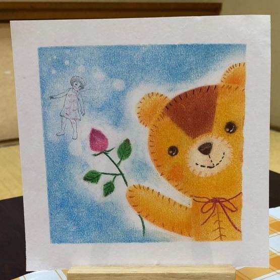 可愛いクマのぬいぐるみを描いてもらいました_d0377316_16511368.jpeg