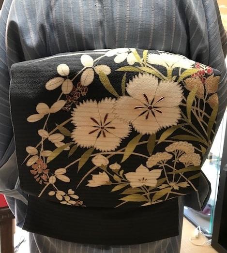 仙台のお客様・石下結城の単衣に夏染帯・キラキラ帯留入荷。_f0181251_16303605.jpg