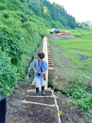 フットパスコースの木道工事が進んでいます_c0336902_21162877.jpg
