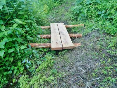フットパスコースの木道工事が進んでいます_c0336902_21163229.jpg