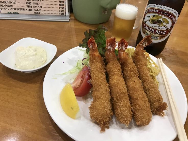 海老フライとビール♪@洋食おがわ_c0212604_122275.jpg