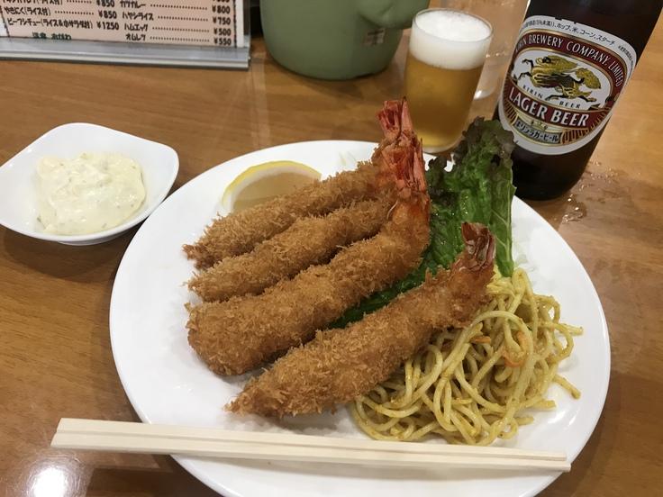 海老フライとビール♪@洋食おがわ_c0212604_12231772.jpg