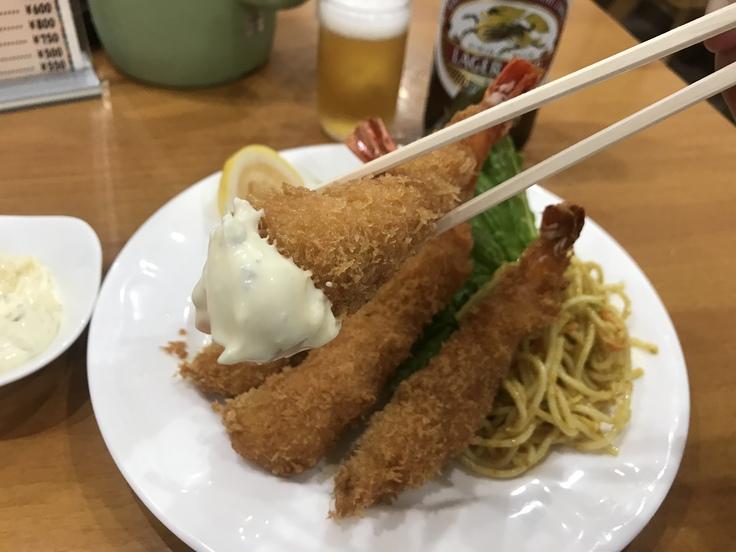 海老フライとビール♪@洋食おがわ_c0212604_12241899.jpg