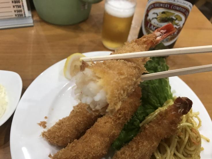海老フライとビール♪@洋食おがわ_c0212604_1225769.jpg