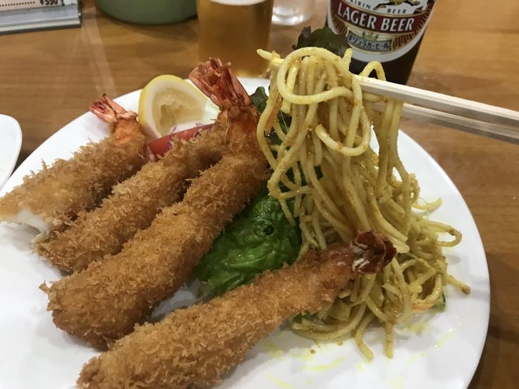 海老フライとビール♪@洋食おがわ_c0212604_12261640.jpg