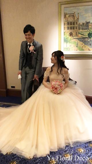 桜ピンクのドレスにあわせるブーケ&ヘッドドレス_b0113510_13402723.jpg
