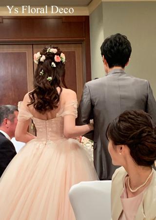 桜ピンクのドレスにあわせるブーケ&ヘッドドレス_b0113510_13403580.jpg