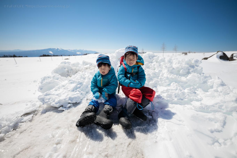3歳5歳ちびっ子兄弟のスノーハイキング「美ヶ原高原」_c0369219_18232820.jpg