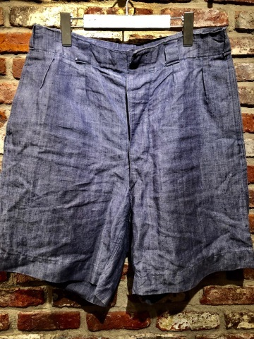 """1950s \"""" FR NAVAL \"""" ALL LINEN VINTAGE - NEP SHORTS - \"""" ONE WASH \"""" ._d0172088_18324755.jpg"""