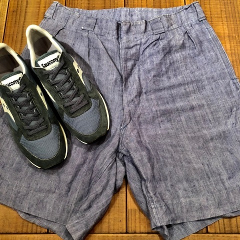 """1950s \"""" FR NAVAL \"""" ALL LINEN VINTAGE - NEP SHORTS - \"""" ONE WASH \"""" ._d0172088_23534549.jpg"""
