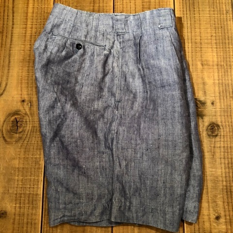 """1950s \"""" FR NAVAL \"""" ALL LINEN VINTAGE - NEP SHORTS - \"""" ONE WASH \"""" ._d0172088_23574731.jpg"""