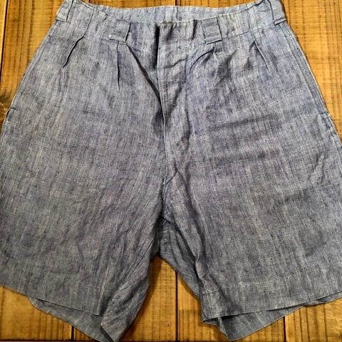 """1950s \"""" FR NAVAL \"""" ALL LINEN VINTAGE - NEP SHORTS - \"""" ONE WASH \"""" ._d0172088_23585371.jpg"""
