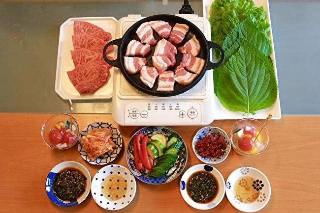 おうちでサムギョプサル。箸休めにプチトマトの水キムチ、シメはスダチ冷麺_a0223786_13003610.jpg
