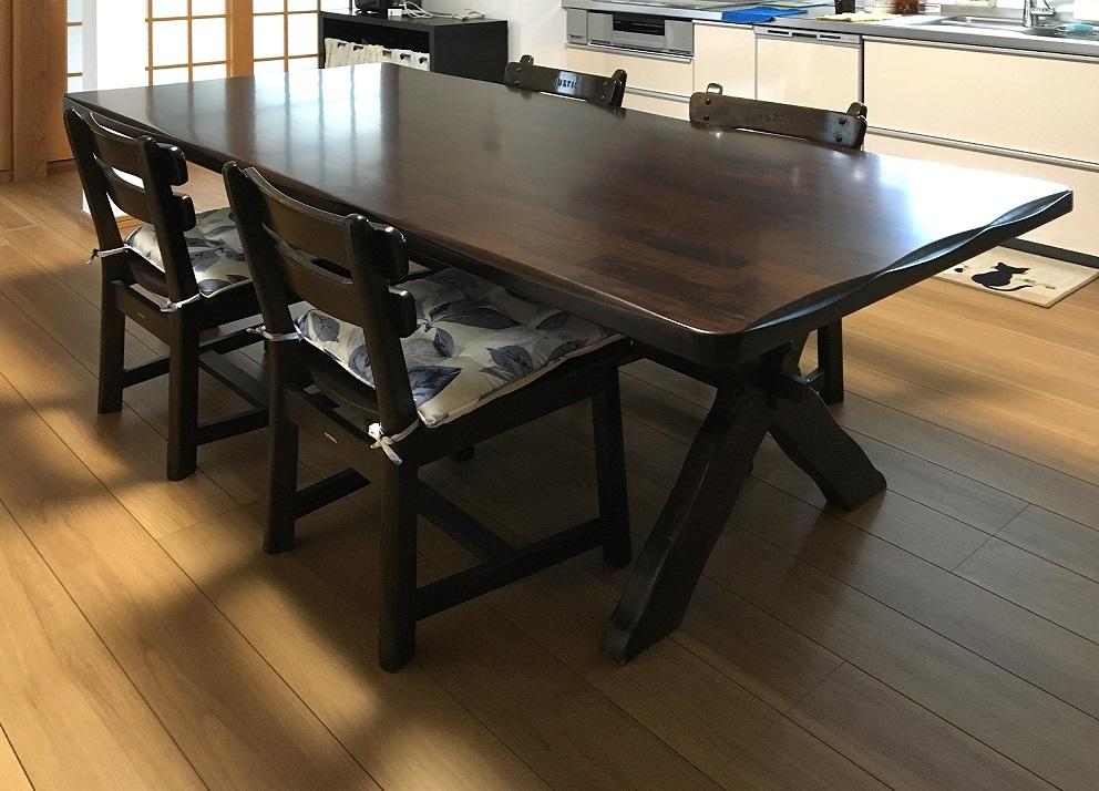 家具再生実例 カリモクダイニングテーブル天板の再塗装_d0224984_17013378.jpg