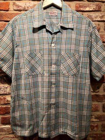 "1950s \"" Simtex - SANFORIZED - \"" 100% pima cotton VINTAGE - Mint Green CHECK - S/S OPEN SHIRTS ._d0172088_17250747.jpg"