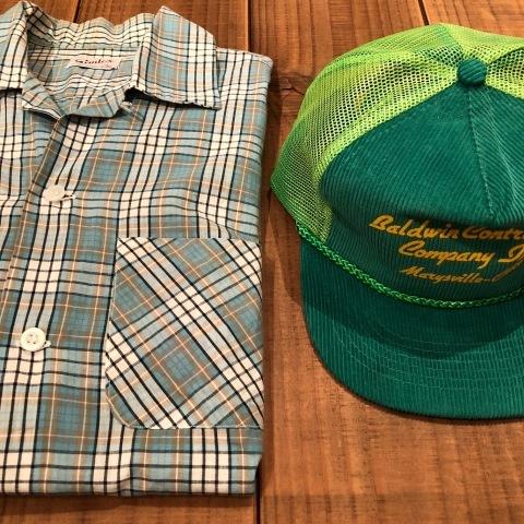 "1950s \"" Simtex - SANFORIZED - \"" 100% pima cotton VINTAGE - Mint Green CHECK - S/S OPEN SHIRTS ._d0172088_21372909.jpg"