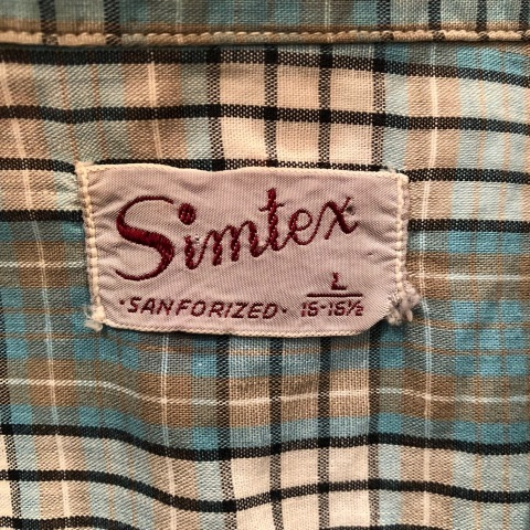 "1950s \"" Simtex - SANFORIZED - \"" 100% pima cotton VINTAGE - Mint Green CHECK - S/S OPEN SHIRTS ._d0172088_21395840.jpg"