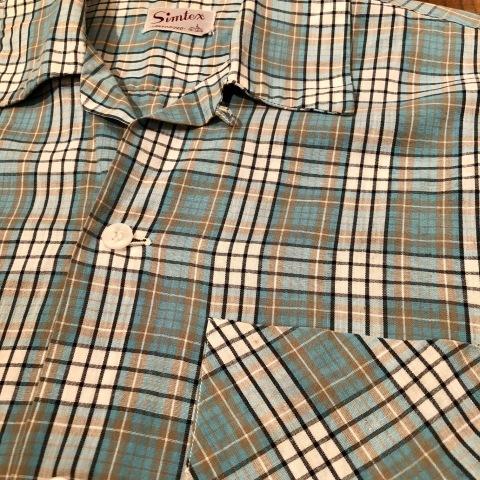 "1950s \"" Simtex - SANFORIZED - \"" 100% pima cotton VINTAGE - Mint Green CHECK - S/S OPEN SHIRTS ._d0172088_21415019.jpg"