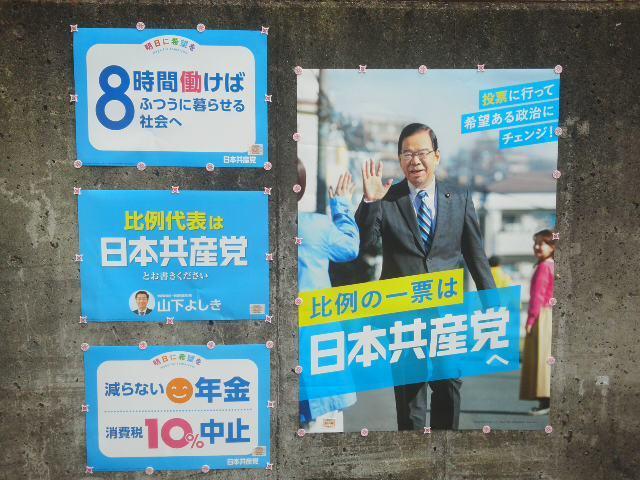 🌝 減らない年金 ⭐ 消費税10%中止 👆 8時間働けば普通のくらしを 🌝 新しいポスター 🌝 セミにトンボにでんでんむし &#1280_f0061067_17213638.jpg