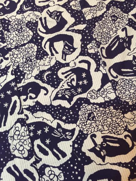 7/10より!新宿伊勢丹「大正ロマン百貨店」型染め作家 関美穂子さんとのコラボ浴衣♪猫水玉羊「夜空」_c0321302_11020095.jpg