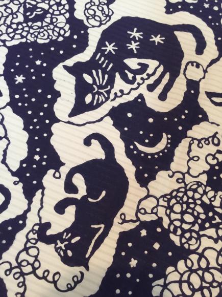 7/10より!新宿伊勢丹「大正ロマン百貨店」型染め作家 関美穂子さんとのコラボ浴衣♪猫水玉羊「夜空」_c0321302_11034175.jpg