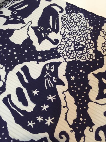 7/10より!新宿伊勢丹「大正ロマン百貨店」型染め作家 関美穂子さんとのコラボ浴衣♪猫水玉羊「夜空」_c0321302_11034320.jpg