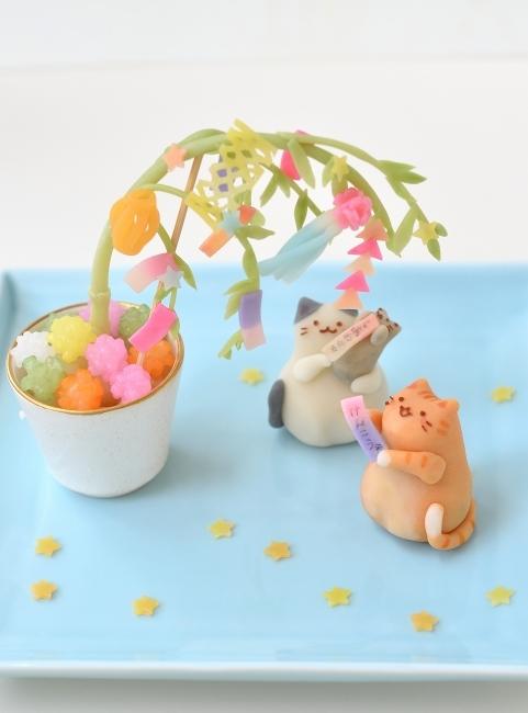 七夕を楽しむ猫練り切り_d0025294_17270892.jpg