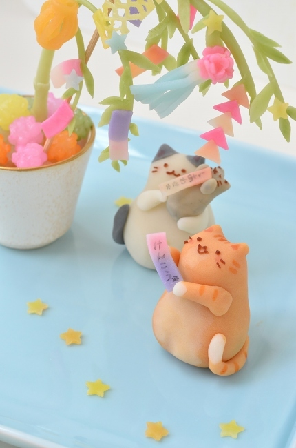 七夕を楽しむ猫練り切り_d0025294_17273172.jpg
