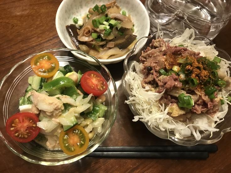 火曜の晩ごはん☆牛丼ライト風と豆のサラダ_c0212604_18423976.jpg