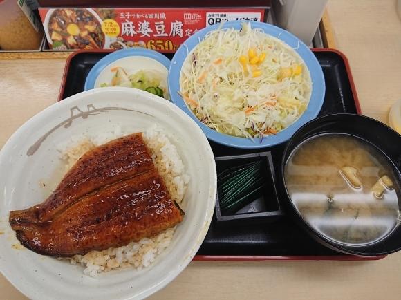 7/9 うな丼 & 生野菜サラダ & 生ビール @松屋_b0042308_23390020.jpg