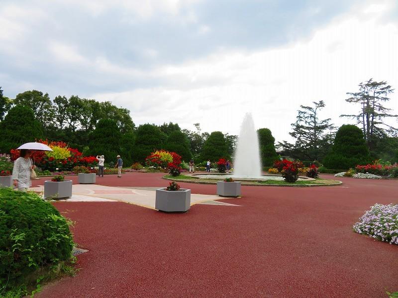 噴水のある「沈床花壇とカラフルな花々」20190707_e0237645_14053828.jpg