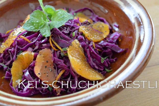 オレンジと赤キャベツのサラダと中東料理_c0287366_16315911.jpg