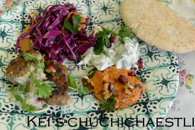 オレンジと赤キャベツのサラダと中東料理_c0287366_1704232.jpg