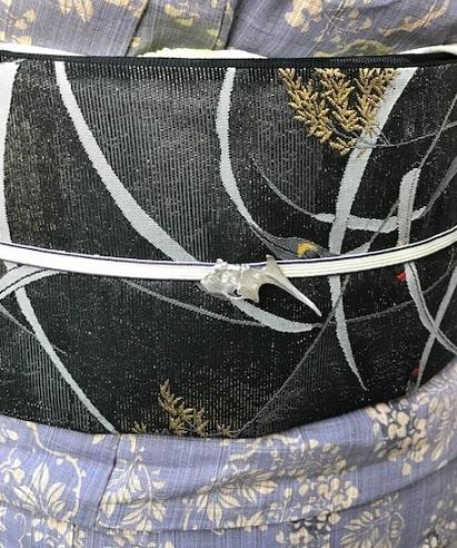 ビアガーデン・竺仙浴衣に蛍帯・刺繍麻帯前太鼓コーデ。_f0181251_13444008.jpg