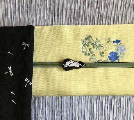 ビアガーデン・竺仙浴衣に蛍帯・刺繍麻帯前太鼓コーデ。_f0181251_13570240.jpg