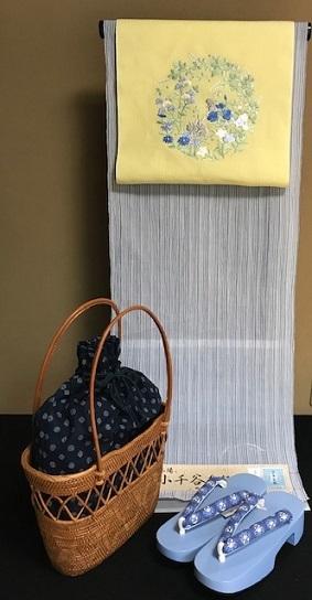 ビアガーデン・竺仙奥州小紋のお客様・麻刺繍帯+下駄+籠_f0181251_15420795.jpg