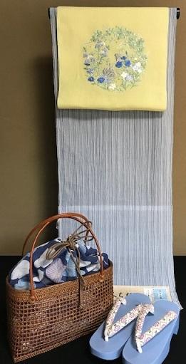 ビアガーデン・竺仙奥州小紋のお客様・麻刺繍帯+下駄+籠_f0181251_15551928.jpg